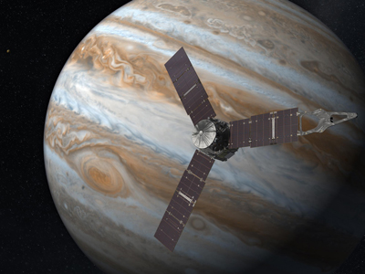Artist rendering of the Juno satellite orbiting Jupiter.
