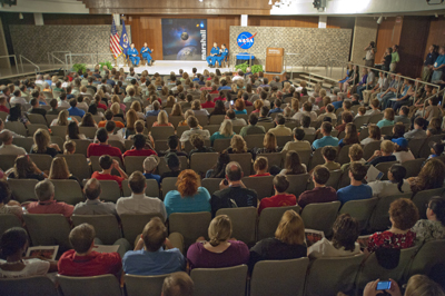 STS-135 astronauts present mission highlights to a packed crowd of Marshall employees and guests in Morris Auditorium Aug. 11.