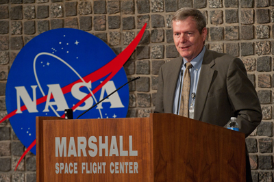 Bryan O'Connor, NASA chief of Safety & Mission Assurance, presents the keynote address during the 2011 Marshall Space Flight Center Honor Awards Ceremonies July 28 in Morris Auditorium.