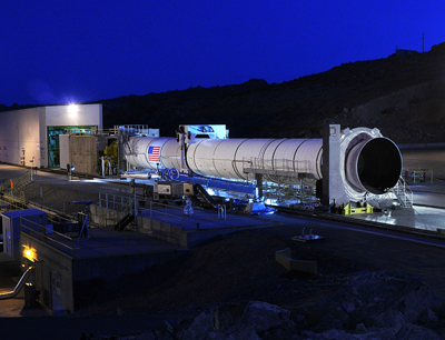 The DM-3 motor is prepared for testing at the ATK Aerospace Systems test facility in Promontory, Utah.