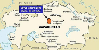 This map of Kazakhstan and the surrounding areas shows the target area for landing Soyuz vehicles.