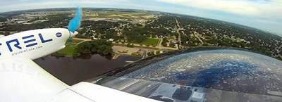 Aerial view seen from the Taurus G4 aircraft, developed by Pipistrel USA.
