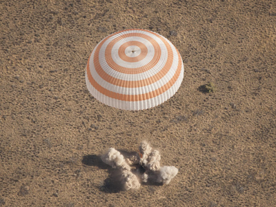 The Soyuz spacecraft lands with Expedition 28 Commander Andrey Borisenko, and Flight Engineers Ron Garan and Alexander Samokutyaev in a remote area outside of the town of Zhezkazgan, Kazakhstan.