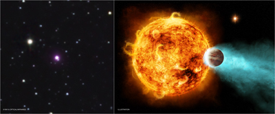 Image and illustration of a nearby star, CoRoT-2a, and an orbiting planet, CoRoT-2b.