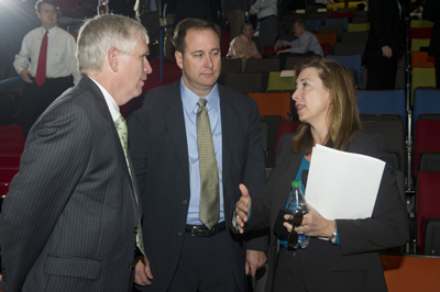 U.S. Rep. Mo Brooks of Alabama's 5th District, left, chats with Marshall Center Director Robert Lightfoot, center, and NASA Deputy Administrator Lori Garver during the Sept. 29 Industry Day event.