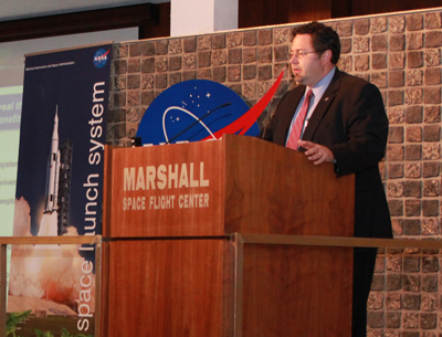 Todd May, manager of the Space Launch System Program Office at the Marshall Space Flight Center, briefs the Marshall workforce about NASA's new heavy-lift launch vehicle development program during an all-hands meeting Sept. 28.
