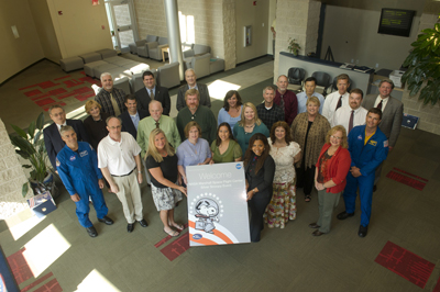 Silver Snoopy honorees and astronauts Mark Vande Hei and G. Reid Wiseman gather at the Educator Resource Center Sept. 28.