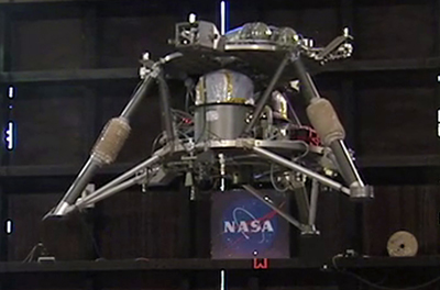 NASA's robotic lander prototype hovers autonomously during its second free-flight test at the Marshall Center.