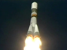 The unpiloted ISS Progress 45 cargo craft launches from the Baikonur Cosmodrome in Kazakhstan.