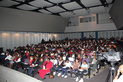 More than 300 students from Birmingham and Bessemer city schools gathered at George Washington Carver High School in Birmingham to speak with astronaut Mike Fossum aboard the International Space Station on Oct. 21.