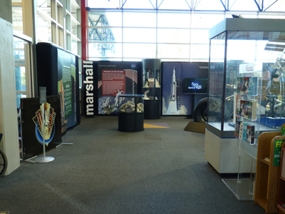 The Visitor Information Center at the U.S. Space & Rocket Center�s entrance spotlights NASA�s and the Marshall Space Flight Center�s current missions and goals.