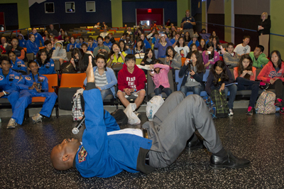 Leland Melvin, associate administrator for the Office of Education at NASA Headquarters, and a former astronaut, visited the Marshall Space Flight Center on Nov. 1-2. He spoke to U.S. Space Camp participants at the U.S. Space & Rocket Center -- Marshall's official visitor center.