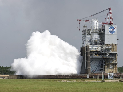 The 40-second test of the J-2X rocket engine on Sept. 28, 2011.