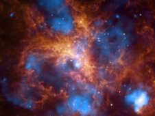 Composite image of 30 Doradus, known as the Tarantula Nebula