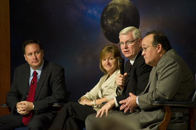 Johnson Space Center Director Mike Coats, second from right, talks about NASA's future during the all-hands meeting. He's joined by, from left, Marshall Center Director Robert Lightfoot, Langley Center Director Lesa Roe and Glenn Center Director Ray Lugo.