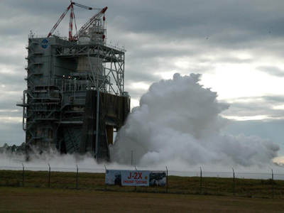The J-2X engine roars to life during a 500-second test firing at NASA's Stennis Space Center A-2 test stand Nov. 9.