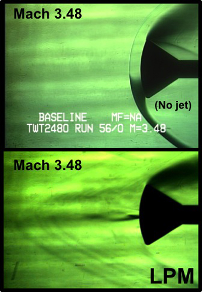 Wind tunnel schlieren images show weakening of blunt body supersonic shock waves at Mach 3.48, caused by the influence of the counterflowing, cold-gas jet in Long Penetration Mode.  Top image is a baseline case without jet. Bottom image shows cold-gas jet diffusing the supersonic shock.