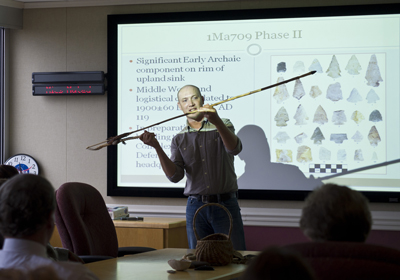 Ben Hoksbergen, archaeologist and cultural resources manager for the U.S. Army's Redstone Arsenal, spoke to Marshall Space Flight Center team members at the Native American Heritage Month Lunch and Learn on Nov. 29.
