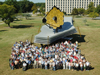 The James Webb Space Telescope full-scale model was assembled on the lawn at Goddard Space Flight Center, and displayed during September 19 - 25, 2005. The Webb Telescope team took a group photo with it which demonstrates the size of the telescope.