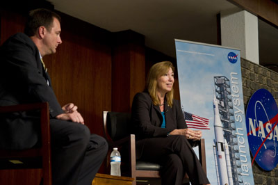 NASA Deputy Administrator Lori Garver, right, answers a question from a Marshall team member during a Sept. 29 all-hands meeting while Marshall Center Director Robert Lightfoot looks on.