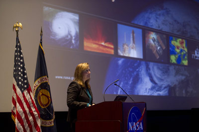 NASA Deputy Administrator Lori Garver welcomes industry leaders and stakeholders to the Space Launch System Industry Day Sept. 29 at the Davidson Center for Space Exploration in Huntsville.