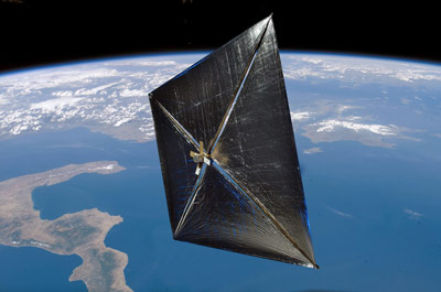 An artist's rendering of the NanoSail-D after deployment in Earth orbit.