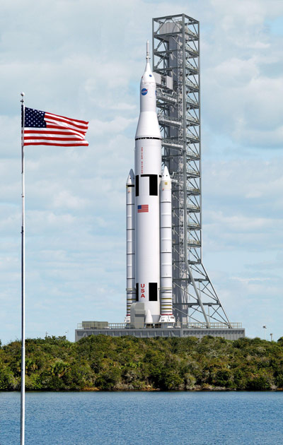 Artist concept of SLS on launch pad.
