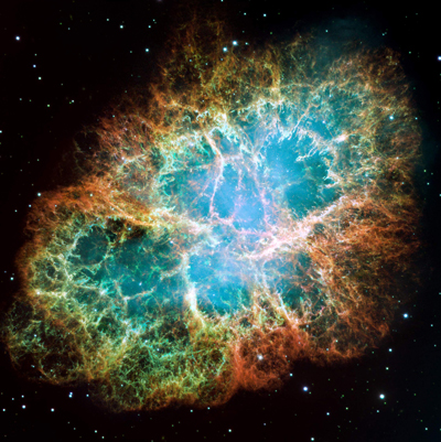 The Crab Nebula, 6,500 light-years away in the constellation Taurus, as photographed by the Hubble Space Telescope.