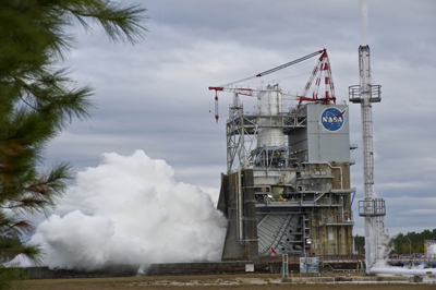 NASA conducted a successful J-2X 500-second test firing on Nov. 9 at the A-2 test stand at Stennis Space Center.