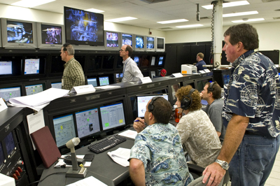 Engineers and technicians in the A-2 Test Control Center at NASA's Stennis Space Center monitor activities during a November 2011 test of a next-generation J-2X rocket engine.