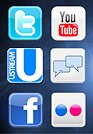Social media panel shows small icons of various social media channels against a dark background
