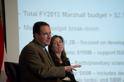 Marshall Center Director Robert Lightfoot, left, and NASA Deputy Administrator Lori Garver address the Marshall workforce Feb. 13.