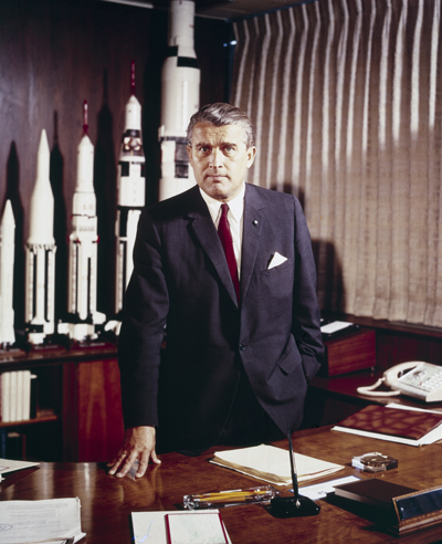 Dr. Wernher von Braun, first director of the Marshall Center, in his office, circa 1960.