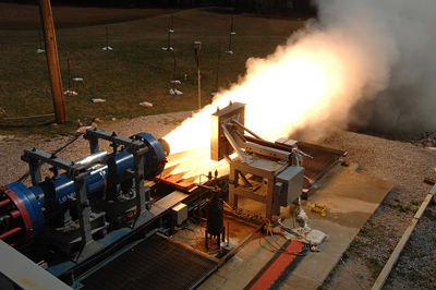 It was three-two-one to brilliant fire as the Marshall Space Flight Center tested a small, solid rocket motor designed to mimic NASA's Space Launch System booster. The March 14 test provides a quick, affordable and effective way to evaluate a new nozzle insulation material for the SLS solid rocket b