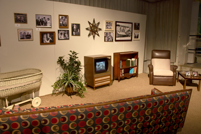 The exhibit includes a living room set up with Dr. Wernher von Braun's recliner and other furniture that came from a couple of the family's homes in Huntsville.