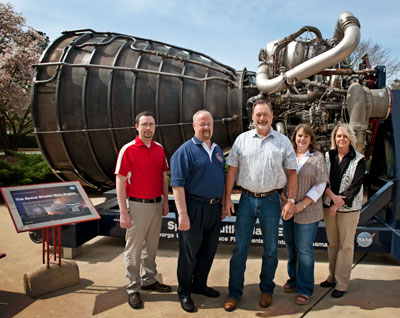 The Shuttle-Ares Transition Project Office team, include, from left, Allen Blair and Bob Carmack of DP Associates Inc. of Huntsville; John Brunson, project lead; Michelle Myers of Pratt & Whitney Rocketdyne of Canoga Park, Calif.; and Michele Atkinson of NASA.