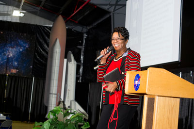 Dr. Amanda Harris Goodson, a former Marshall Space Flight Center employee who is now director for enterprise process integration at Raytheon Missile Systems for Information Technology in Tucson, Ariz., speaks about important tools for success at the 2012 Women's History Month Seminar on March 22.