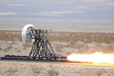 NASA recently performed a trial run on a rocket sled test fixture, powered by rockets, to replicate the forces a supersonic spacecraft would experience prior to landing.