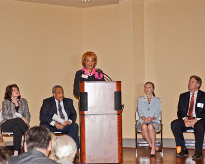 Teresa Foley-Batts welcomes attendees to the NASA Woman-Owned Small Business Industry Day on March 29 at the Huntsville Museum of Art. From left, Robin Henderson, Glenn Delgado, Debbie Batson and Huntsville Mayor Tommy Battle.