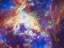 Composite image of the Tarantula Nebula from Chandra, Hubble and Spitzer