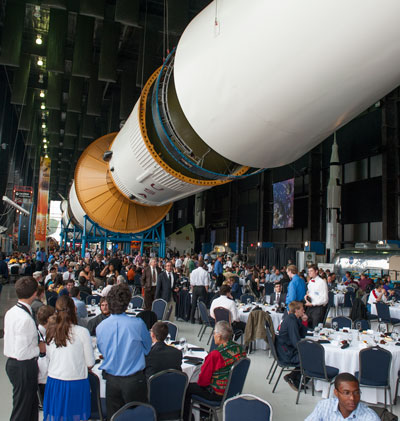 Teams and guests gathered April 21 under the Saturn V rocket at the Davidson Center for Space Exploration for the Student Launch Projects awards banquet.