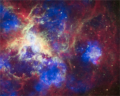 Composite image of the Tarantula Nebula from Chandra, Hubble and Spitzer.