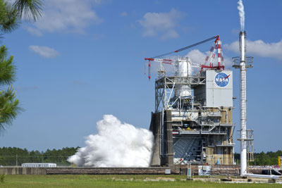 A J-2X E10001 engine roars to life during the first test in its second test series at Stennis Space Center on April 26.