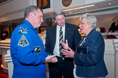 From left, NASA astronaut T.J. Creamer; Gene Goldman, acting Marshall Center director; and Alabama Lt. Gov. Kay Ivey.