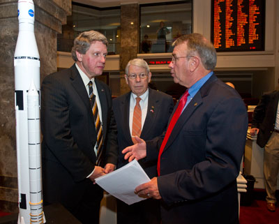 From left, Gene Goldman, acting Marshall Center director; Alabama State Rep. Howard Sanderford, representing Alabama's 20th District, including Madison County; and Alabama State Rep. Mac McCutcheon, representing Alabama's 25th District, including Madison and Limestone counties.