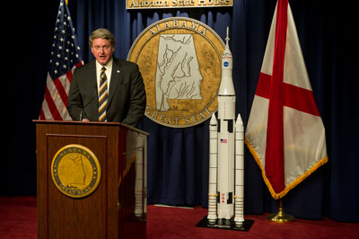 Gene Goldman, Marshall Center acting director, holds a press conference following his address to a joint session of the Alabama Legislature May 3.