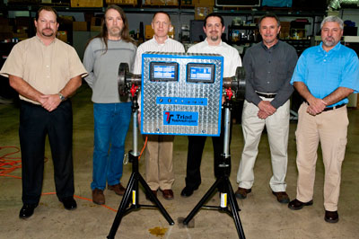 From left are Tim Daigle, president of Triad Technologies; and inventors Don Gregory of UAHuntsville, Kevin Pedersen of Marshall's Engineering Directorate, Val Korman of K-Sciences, John Wiley of Marshall's Engineering Directorate and Sammy Nabors of Marshall's Technology Transfer Office.