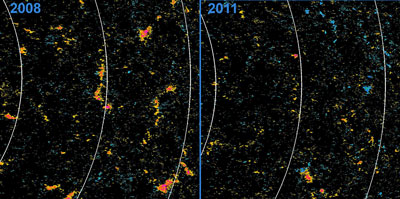 In 2008 in the northern hemisphere of the sun, left, the Hinode X-ray Telescope observes large patches of negative polarity, shown in orange. In 2011, right, the same area shows much smaller patches and a more even distribution of negative and positive regions, shown in blue.