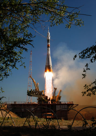 The Soyuz TMA-04M rocket launches from the Baikonur Cosmodrome in Kazakhstan on May 15, 2012, carrying Expedition 31 Soyuz Commander Gennady Padalka of Russia, Flight Engineer Joseph Acaba of NASA and Flight Engineer Sergei Revin of Russia, to the International Space Station.
