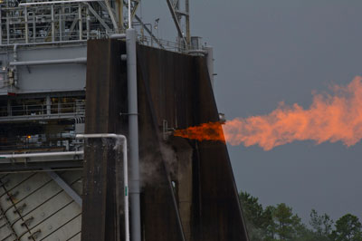 During a record-breaking June 8 test, engineers at the Stennis Space Center throttled the J-2X powerpack up and down several times to explore numerous operating points required for the fuel and oxidizer turbopumps.